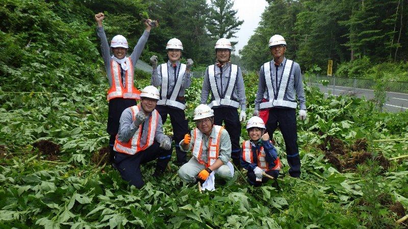 外来植物駆除活動 NEXCO中日本