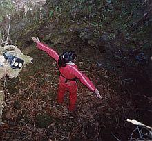 北富士演習場の中にある直径4mの溶岩樹型